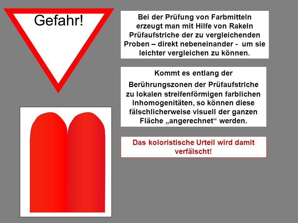Gefahr! Bei der Prüfung von Farbmitteln erzeugt man mit Hilfe von Rakeln Prüfaufstriche der zu vergleichenden Proben – direkt nebeneinander - um sie l