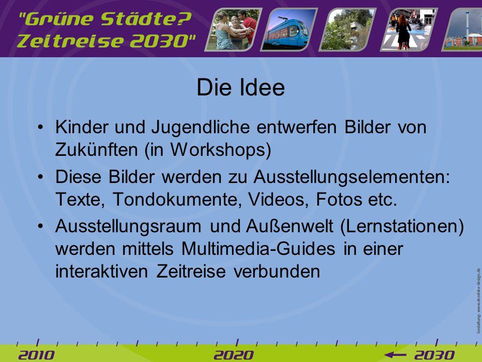 Die Idee Kinder und Jugendliche entwerfen Bilder von Zukünften (in Workshops) Diese Bilder werden zu Ausstellungselementen: Texte, Tondokumente, Videos, Fotos etc.