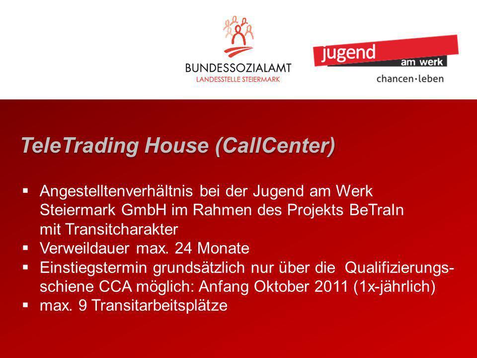TeleTrading House (CallCenter) Angestelltenverhältnis bei der Jugend am Werk Steiermark GmbH im Rahmen des Projekts BeTraIn mit Transitcharakter Verweildauer max.