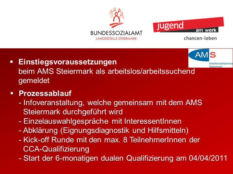 Prozessablauf - Infoveranstaltung, welche gemeinsam mit dem AMS Steiermark durchgeführt wird - Einzelauswahlgespräche mit InteressentInnen - Abklärung (Eignungsdiagnostik und Hilfsmitteln) - Kick-off Runde mit den max.