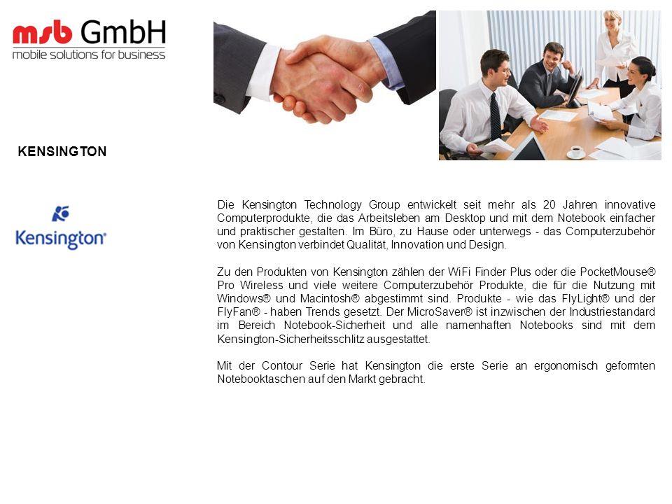 Die Kensington Technology Group entwickelt seit mehr als 20 Jahren innovative Computerprodukte, die das Arbeitsleben am Desktop und mit dem Notebook einfacher und praktischer gestalten.