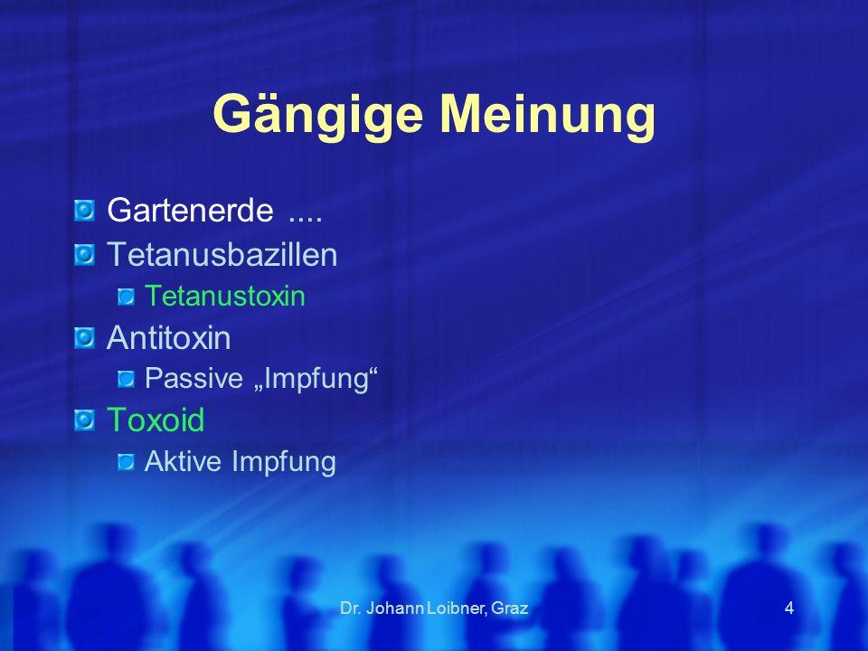 Dr.Johann Loibner, Graz5 Tetanus - wann, wo. Wunden Stich, Druck, Prellung...