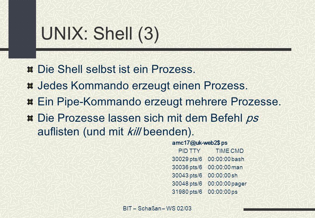 BIT – Schaßan – WS 02/03 UNIX: Shell (3) Die Shell selbst ist ein Prozess. Jedes Kommando erzeugt einen Prozess. Ein Pipe-Kommando erzeugt mehrere Pro