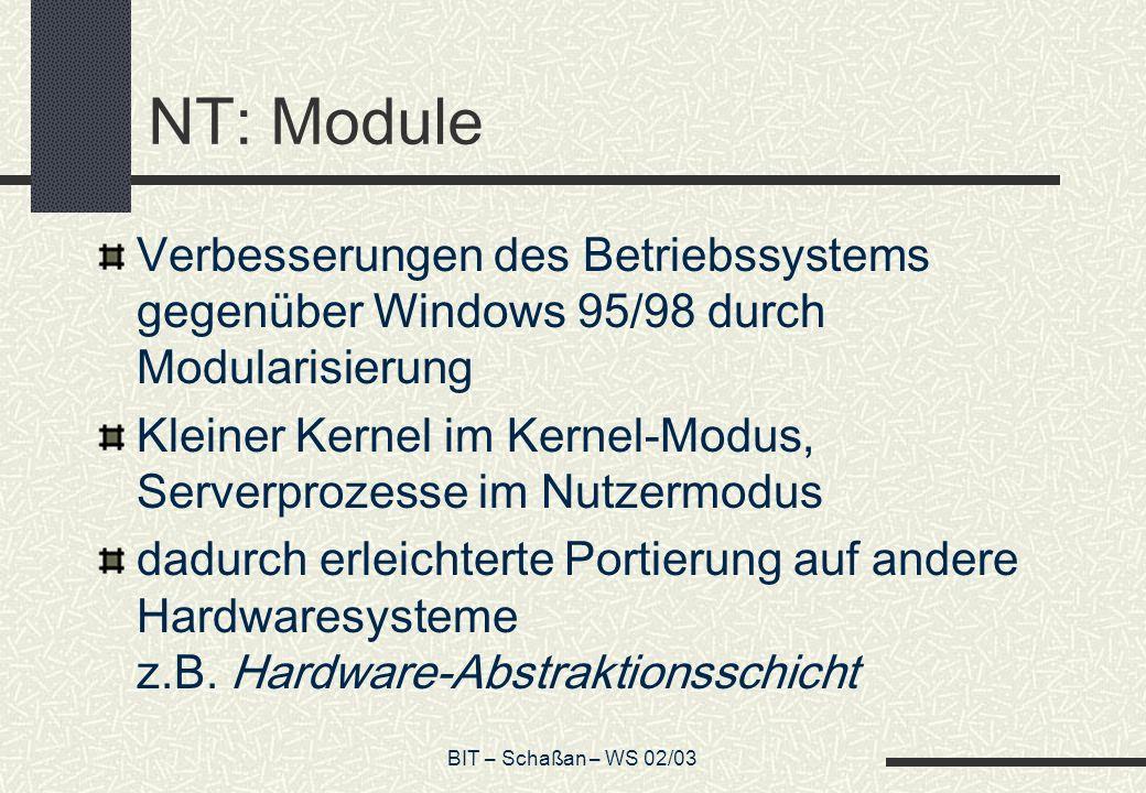 BIT – Schaßan – WS 02/03 NT: Module Verbesserungen des Betriebssystems gegenüber Windows 95/98 durch Modularisierung Kleiner Kernel im Kernel-Modus, S