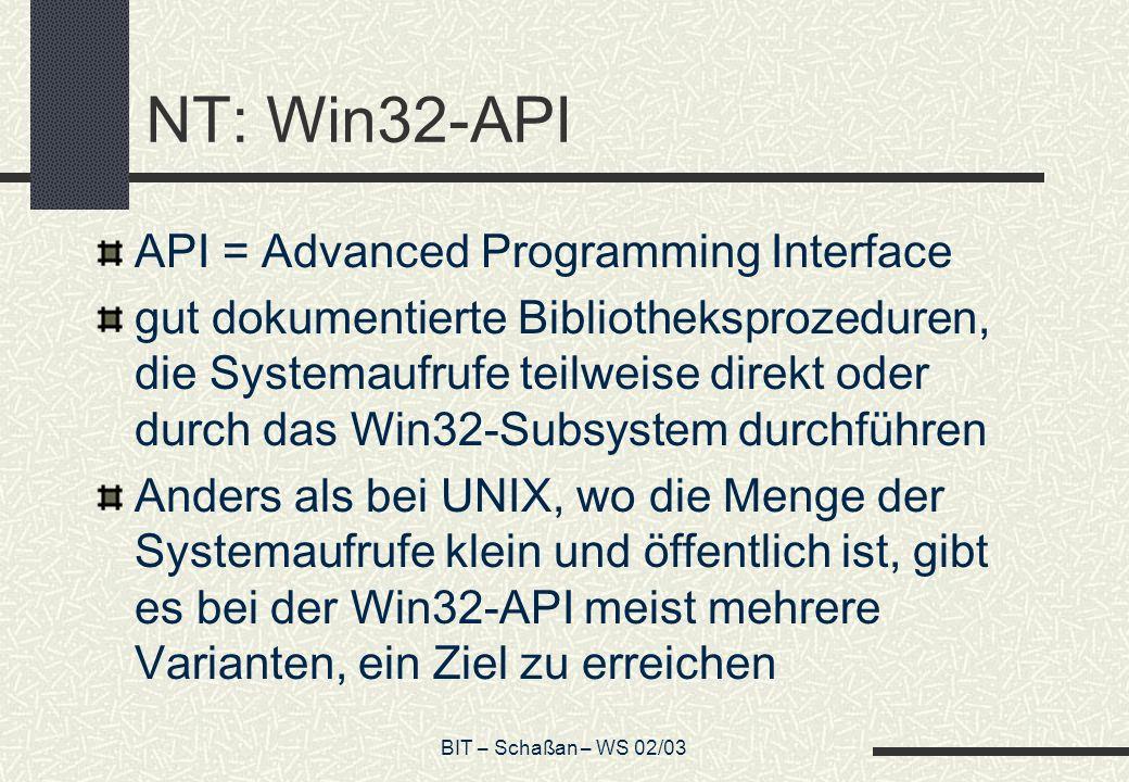 BIT – Schaßan – WS 02/03 NT: Win32-API API = Advanced Programming Interface gut dokumentierte Bibliotheksprozeduren, die Systemaufrufe teilweise direk