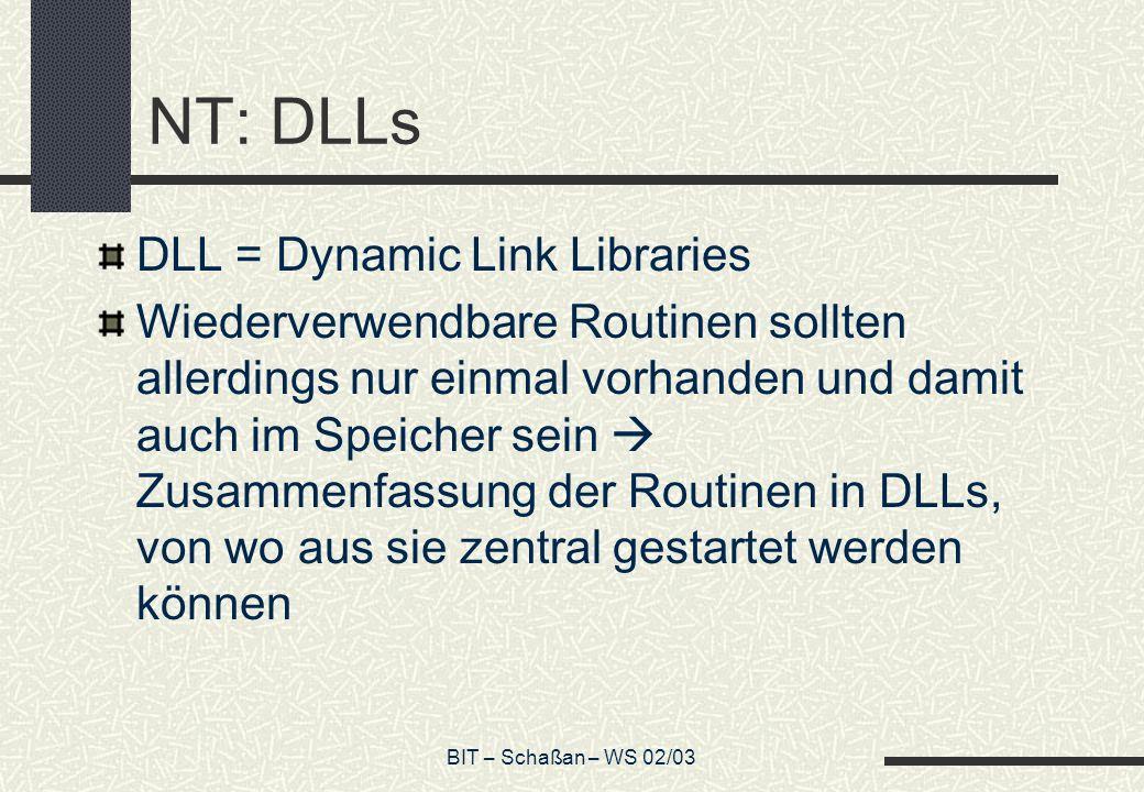 BIT – Schaßan – WS 02/03 NT: DLLs DLL = Dynamic Link Libraries Wiederverwendbare Routinen sollten allerdings nur einmal vorhanden und damit auch im Sp