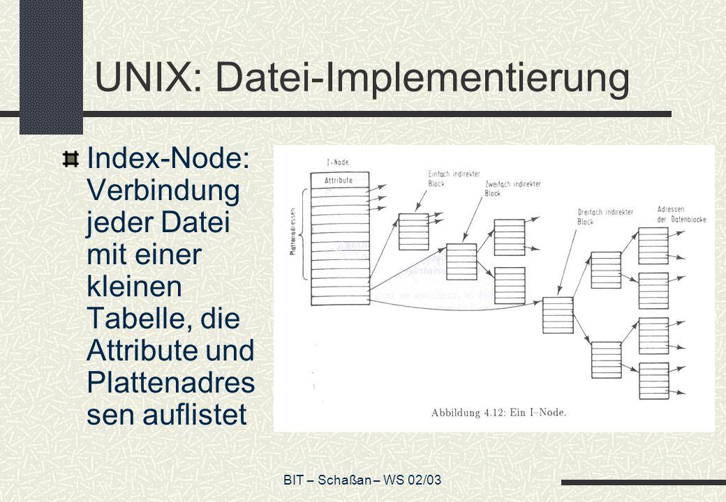 BIT – Schaßan – WS 02/03 UNIX: Datei-Implementierung Index-Node: Verbindung jeder Datei mit einer kleinen Tabelle, die Attribute und Plattenadres sen