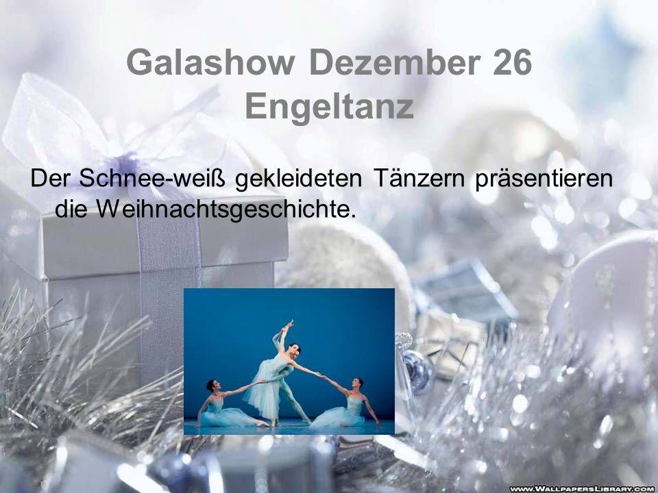 Galashow Dezember 26 Engeltanz Der Schnee-weiß gekleideten Tänzern präsentieren die Weihnachtsgeschichte.