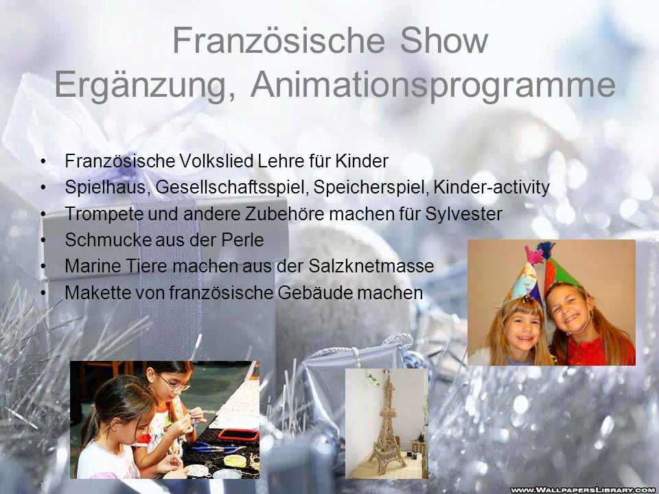 Französische Show Ergänzung, Animationsprogramme Französische Volkslied Lehre für Kinder Spielhaus, Gesellschaftsspiel, Speicherspiel, Kinder-activity