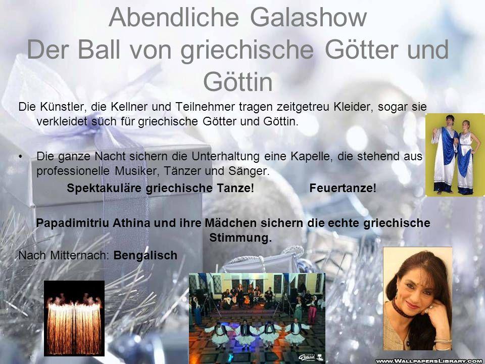 Abendliche Galashow Der Ball von griechische Götter und Göttin Die Künstler, die Kellner und Teilnehmer tragen zeitgetreu Kleider, sogar sie verkleide