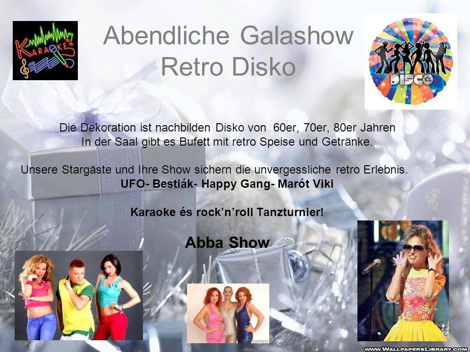 Abendliche Galashow Retro Disko Die Dekoration ist nachbilden Disko von 60er, 70er, 80er Jahren In der Saal gibt es Bufett mit retro Speise und Geträn