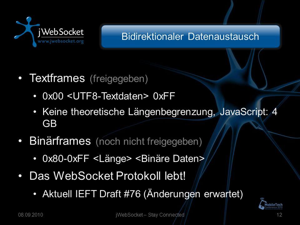 Bidirektionaler Datenaustausch Textframes (freigegeben) 0x00 0xFF Keine theoretische Längenbegrenzung, JavaScript: 4 GB Binärframes (noch nicht freigegeben) 0x80-0xFF Das WebSocket Protokoll lebt.