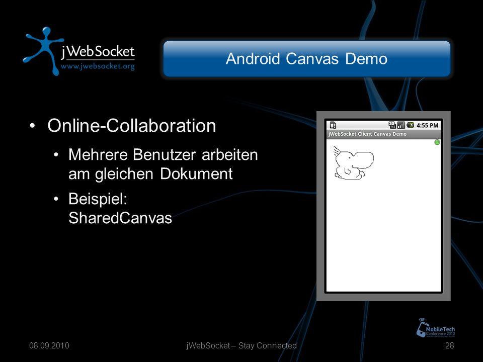 Android Canvas Demo Online-Collaboration Mehrere Benutzer arbeiten am gleichen Dokument Beispiel: SharedCanvas jWebSocket – Stay Connected2808.09.2010