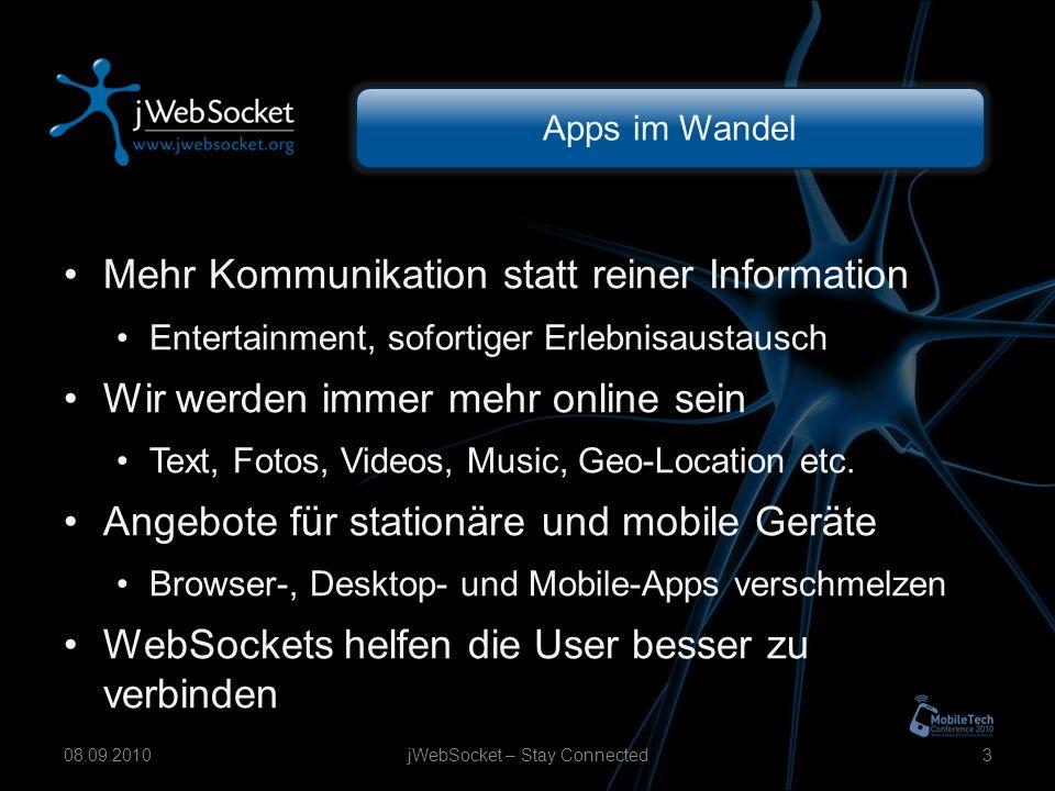 Apps im Wandel Mehr Kommunikation statt reiner Information Entertainment, sofortiger Erlebnisaustausch Wir werden immer mehr online sein Text, Fotos, Videos, Music, Geo-Location etc.