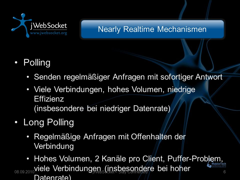 Android Fundamentals jWebSocket – Stay Connected2708.09.2010 WebSocket App Verbindung aufbauen Nachrichten empfangen Nachrichten senden Nachrichten broadcasten Verbindung trennen