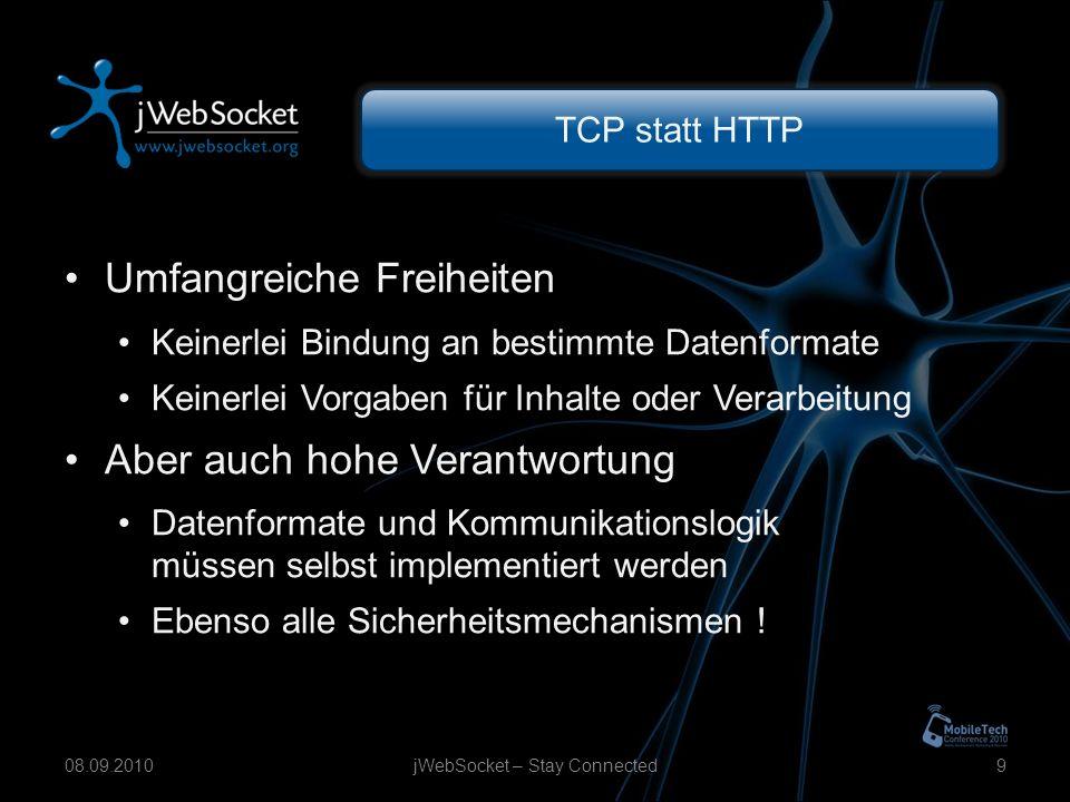 TCP statt HTTP Umfangreiche Freiheiten Keinerlei Bindung an bestimmte Datenformate Keinerlei Vorgaben für Inhalte oder Verarbeitung Aber auch hohe Verantwortung Datenformate und Kommunikationslogik müssen selbst implementiert werden Ebenso alle Sicherheitsmechanismen .