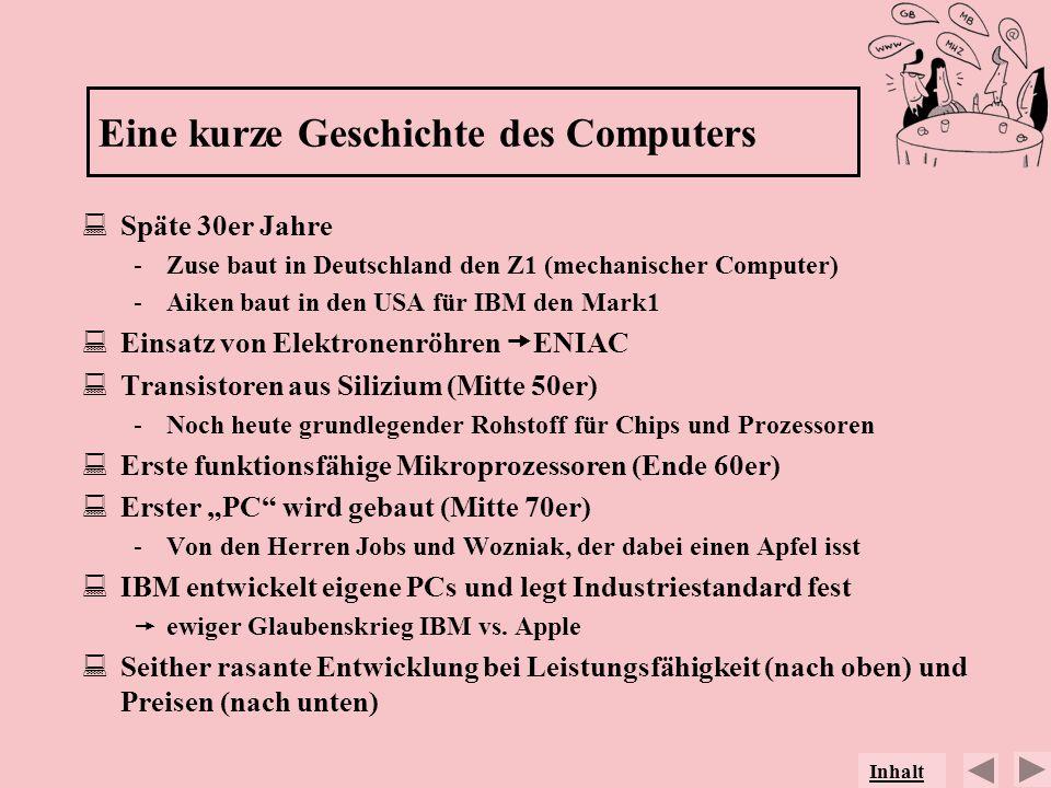 Eine kurze Geschichte des Computers Späte 30er Jahre -Zuse baut in Deutschland den Z1 (mechanischer Computer) -Aiken baut in den USA für IBM den Mark1