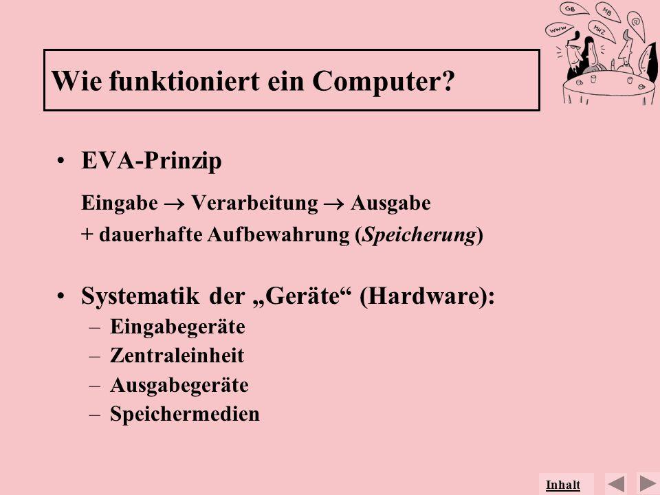 EVA-Prinzip Eingabe Verarbeitung Ausgabe + dauerhafte Aufbewahrung (Speicherung) Systematik der Geräte (Hardware): –Eingabegeräte –Zentraleinheit –Aus