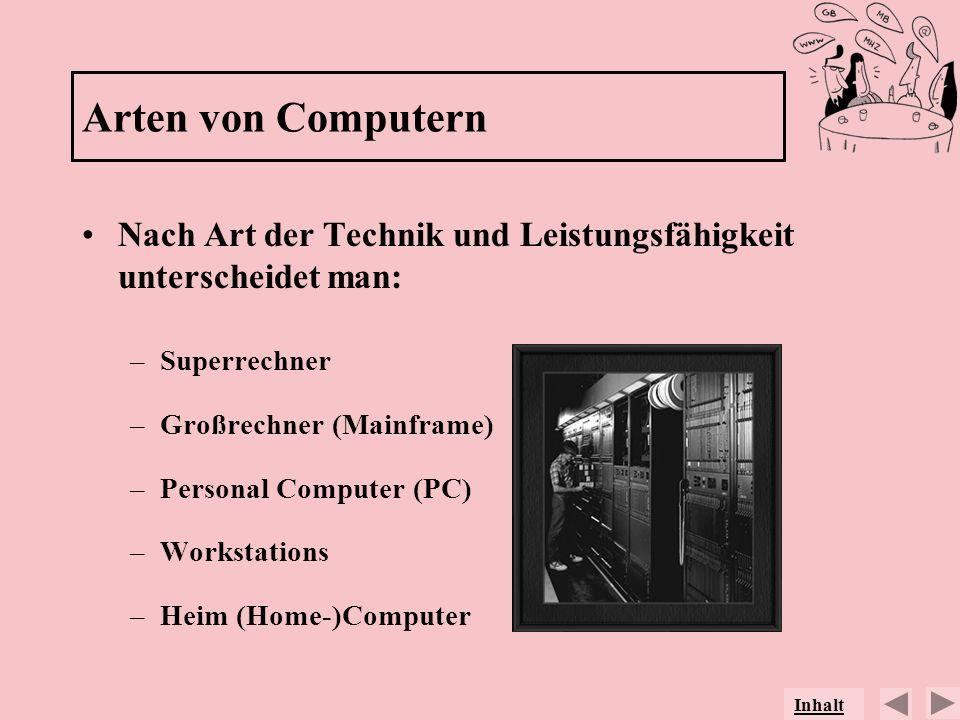 Arten von Computern Nach Art der Technik und Leistungsfähigkeit unterscheidet man: –Superrechner –Großrechner (Mainframe) –Personal Computer (PC) –Wor