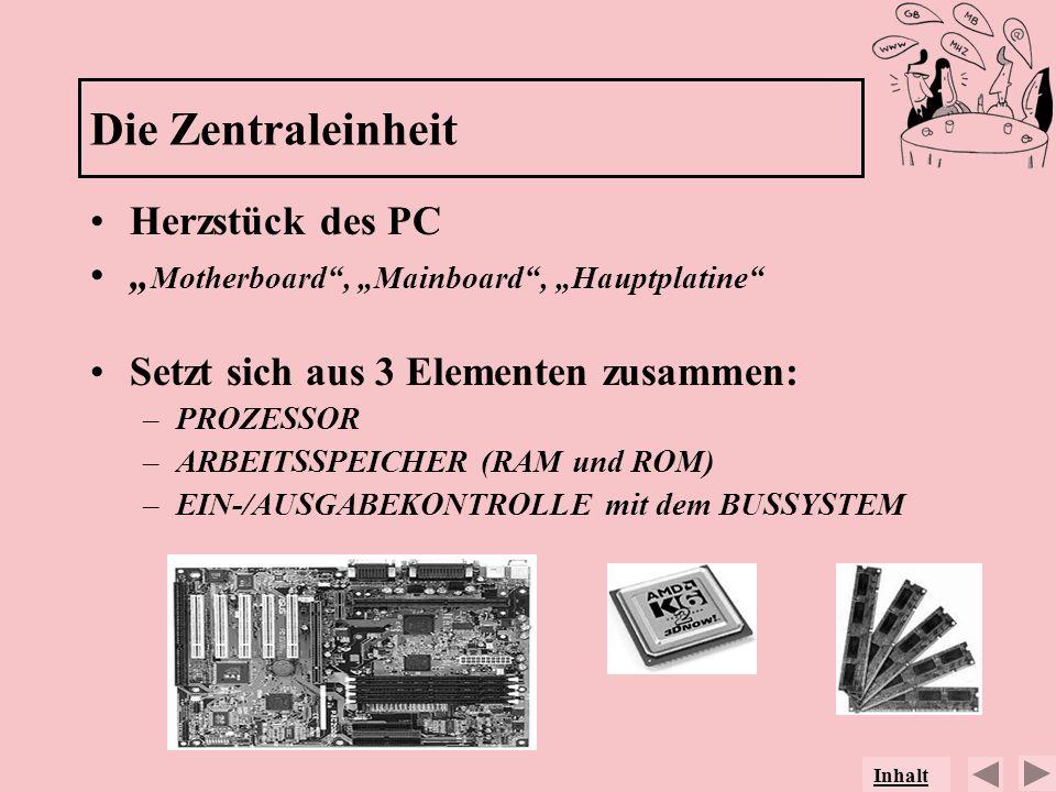 Die Zentraleinheit Herzstück des PC Motherboard, Mainboard, Hauptplatine Setzt sich aus 3 Elementen zusammen: –PROZESSOR –ARBEITSSPEICHER (RAM und ROM