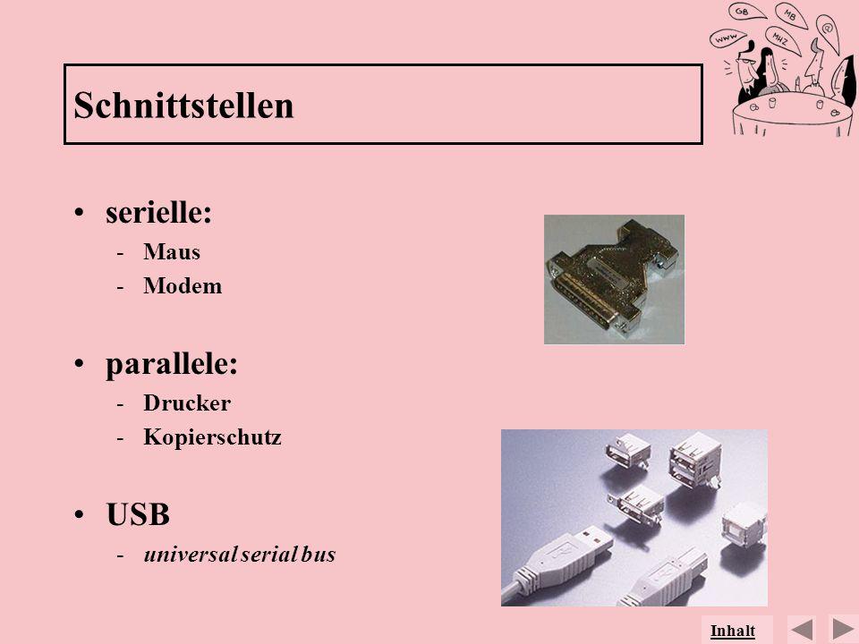 Schnittstellen serielle: -Maus -Modem parallele: -Drucker -Kopierschutz USB -universal serial bus Inhalt