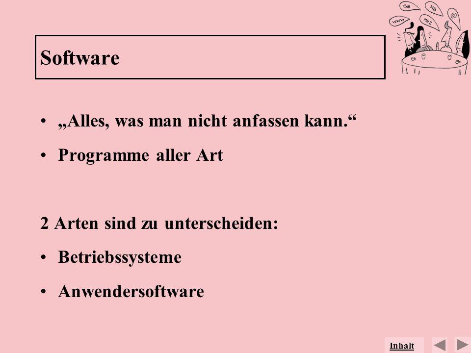 Software Alles, was man nicht anfassen kann. Programme aller Art 2 Arten sind zu unterscheiden: Betriebssysteme Anwendersoftware Inhalt