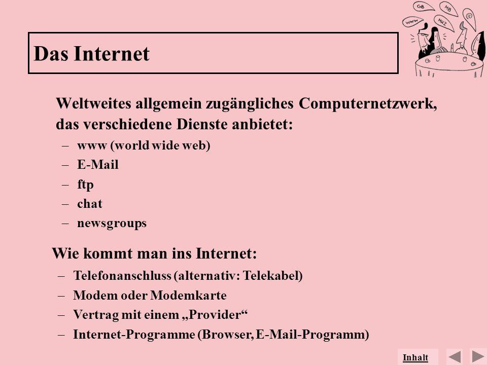 Das Internet Weltweites allgemein zugängliches Computernetzwerk, das verschiedene Dienste anbietet: –www (world wide web) –E-Mail –ftp –chat –newsgrou