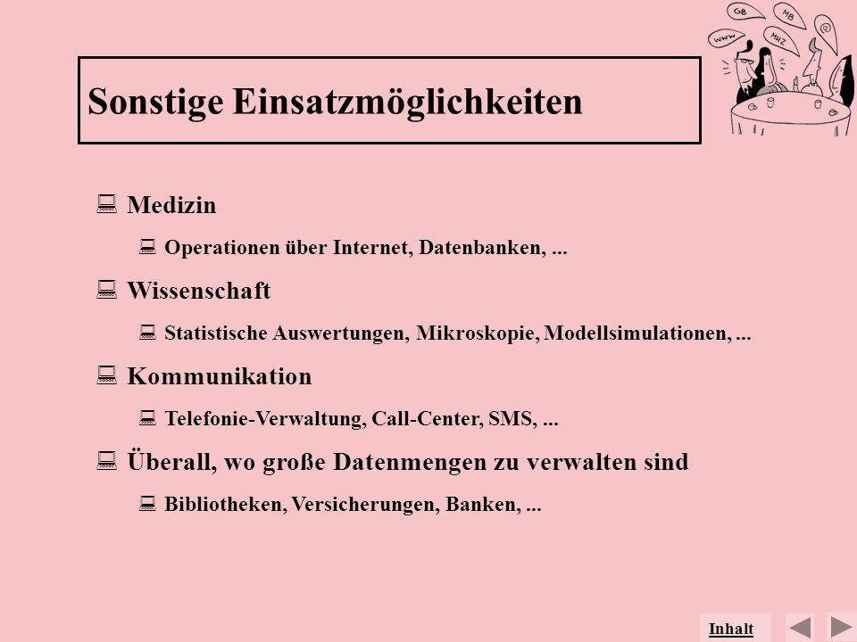 Medizin Operationen über Internet, Datenbanken,... Wissenschaft Statistische Auswertungen, Mikroskopie, Modellsimulationen,... Kommunikation Telefonie