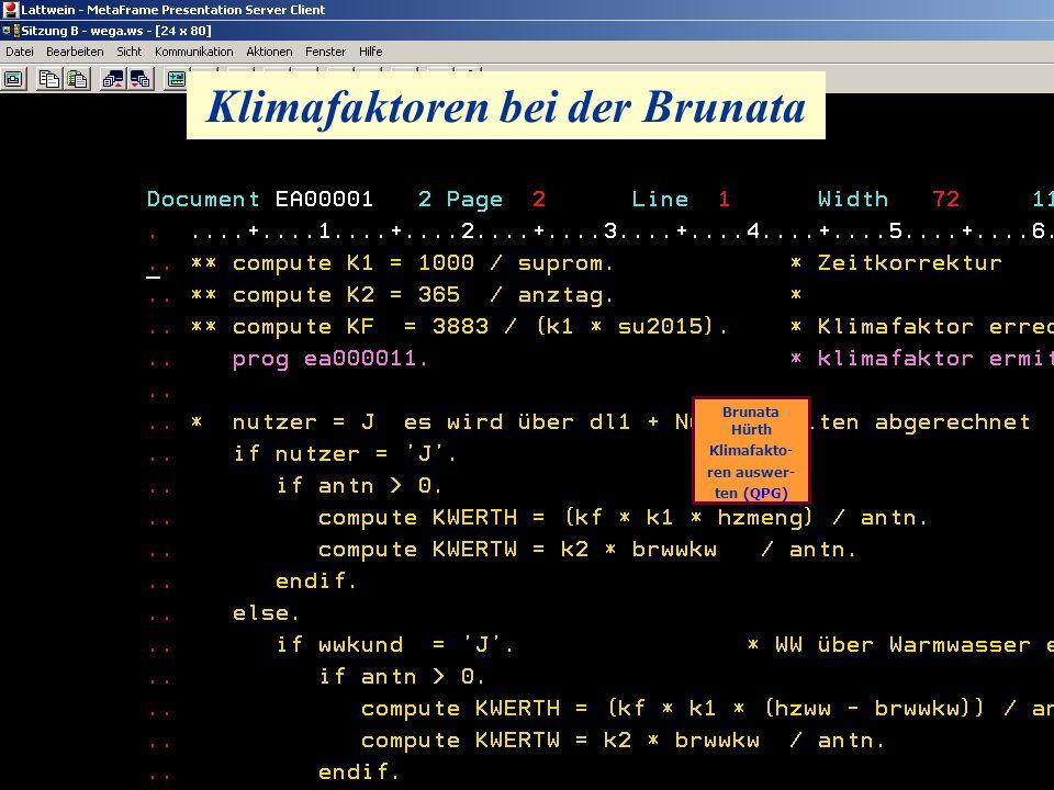 Klimafaktoren bei der Brunata Brunata Hürth Klimafakto- ren auswer- ten (QPG)