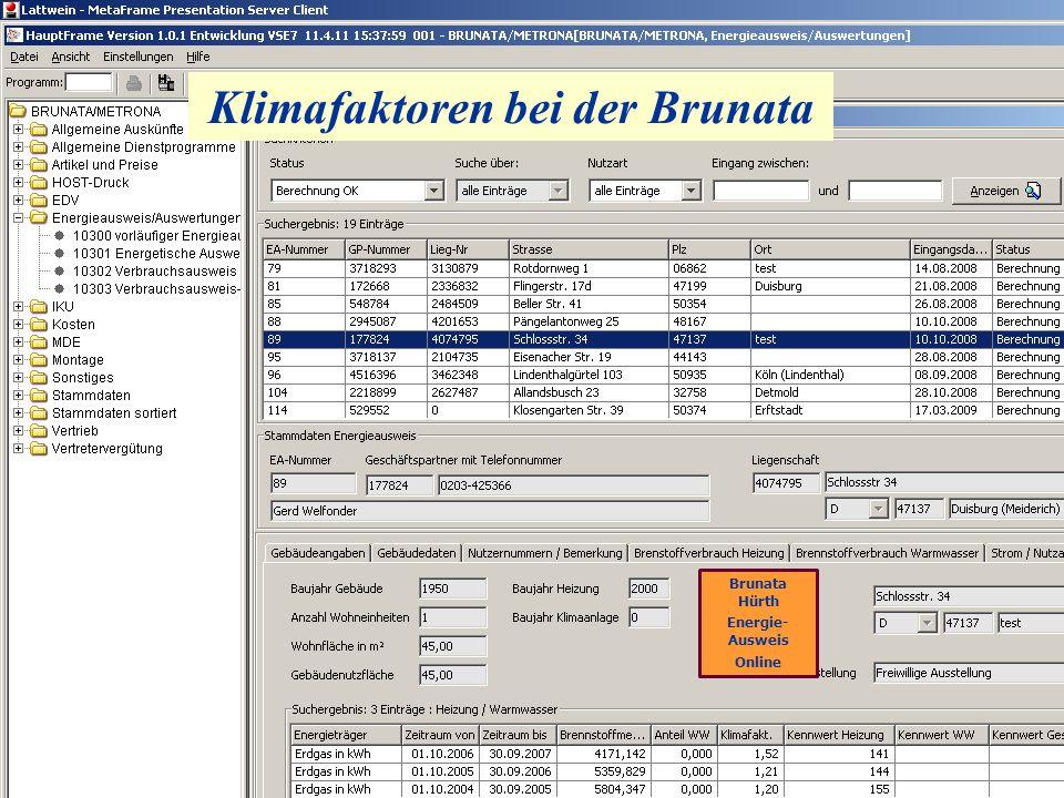 Klimafaktoren bei der Brunata Brunata Hürth Energie- Ausweis Online