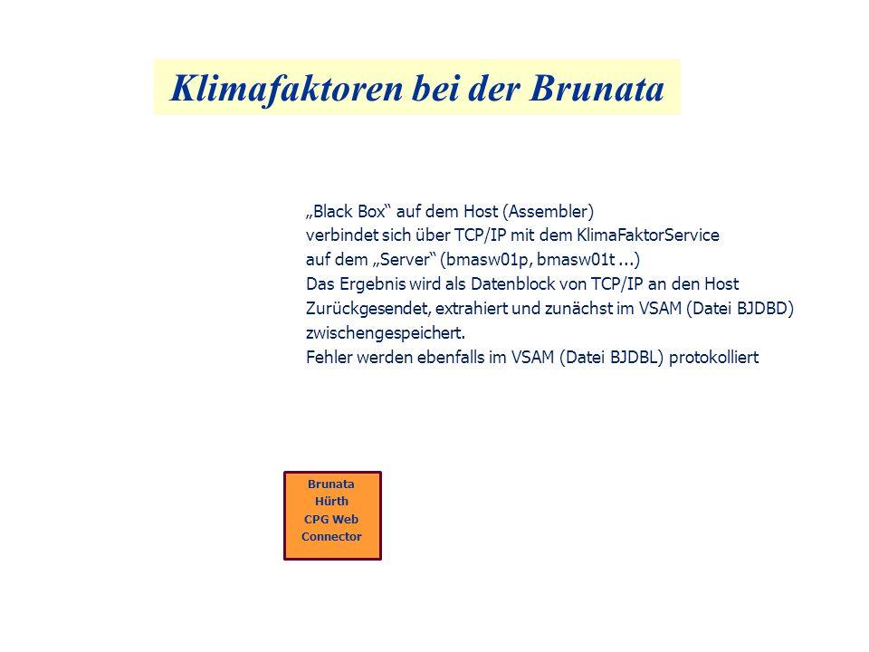 Klimafaktoren bei der Brunata Brunata Hürth CPG Web Connector Black Box auf dem Host (Assembler) verbindet sich über TCP/IP mit dem KlimaFaktorService