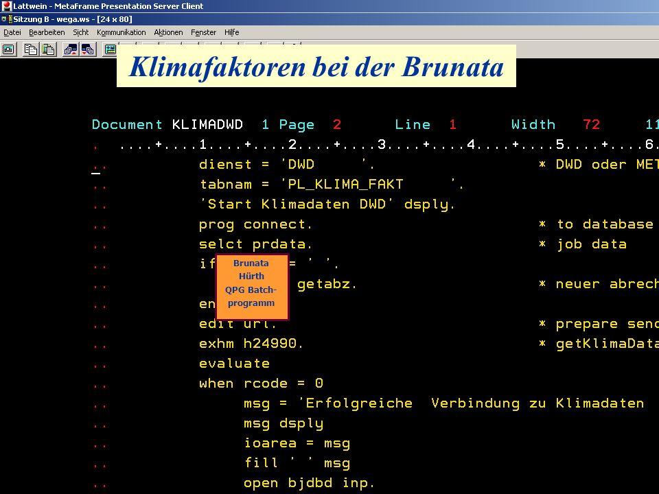 Klimafaktoren bei der Brunata Brunata Hürth QPG Batch- programm