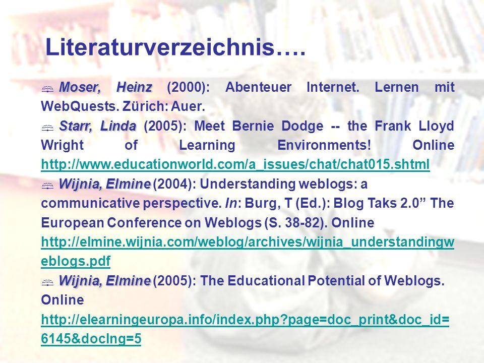 Literaturverzeichnis…. Moser, Heinz Moser, Heinz (2000): Abenteuer Internet. Lernen mit WebQuests. Zürich: Auer. Starr, Linda Starr, Linda (2005): Mee