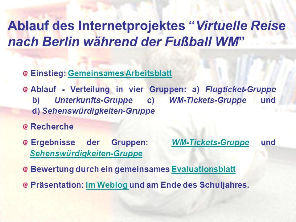 Ablauf Ablauf des Internetprojektes Virtuelle Reise nach Berlin während der Fußball WM Einstieg: Gemeinsames ArbeitsblattGemeinsames Arbeitsblatt Abla