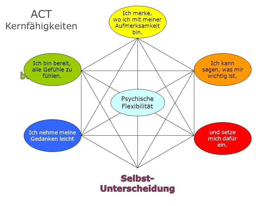ACT Kernfähigkeiten Ich kann sagen, was mir wichtig ist, Ich merke, wo ich mit meiner Aufmerksamkeit bin. und setze mich dafür ein. Ich nehme meine Ge