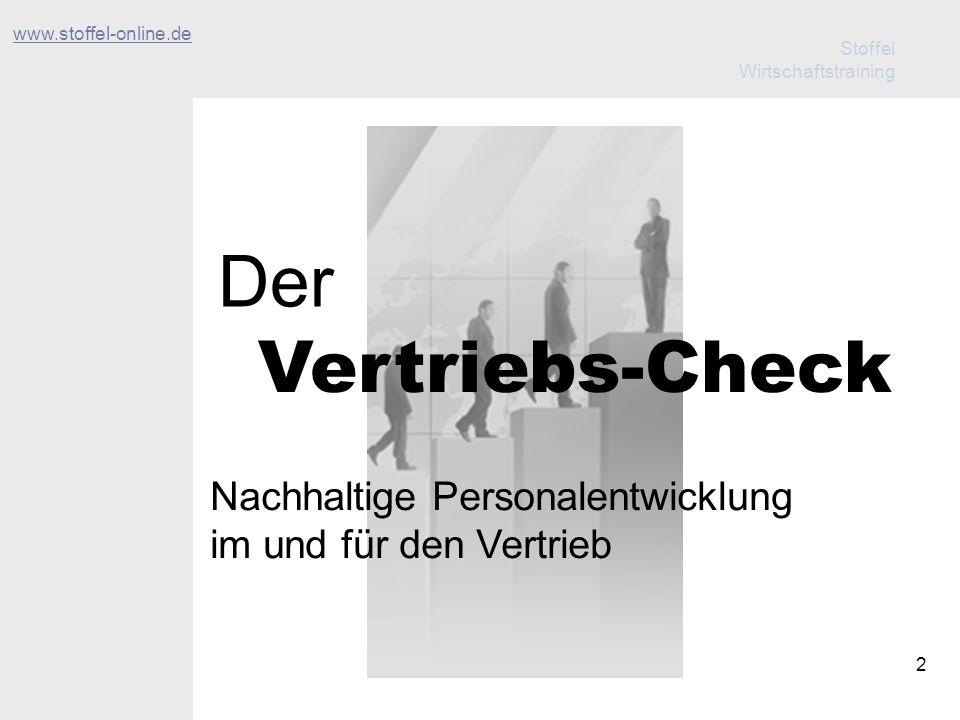 Stoffel Wirtschaftstraining 13 Der Ablauf Der Vertriebs-Check 3 Leistungen Nutzen Ablauf Unterstützung 1.