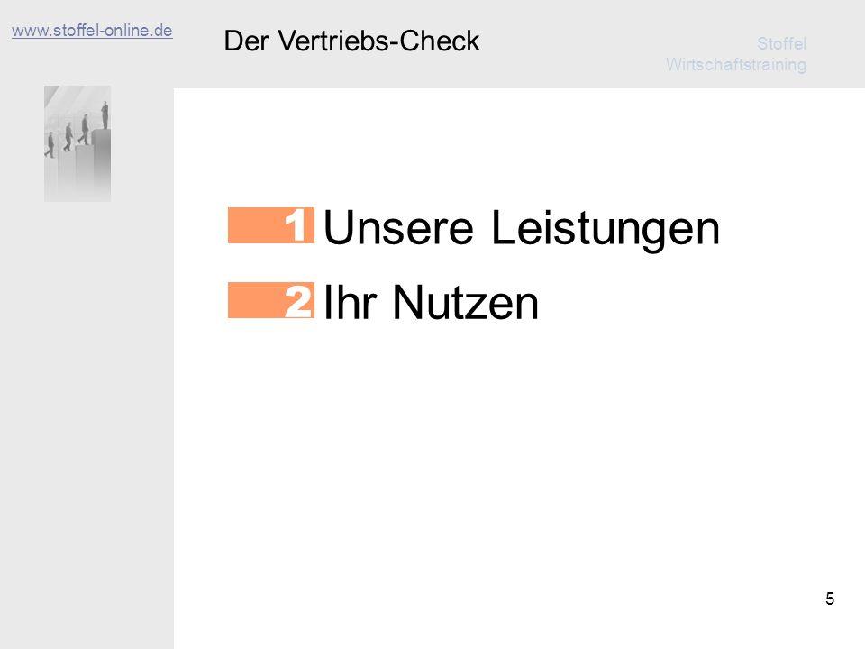 Stoffel Wirtschaftstraining 6 Der Vertriebs-Check www.stoffel-online.de Unsere Leistungen 1 Ihr Nutzen 2 Der Ablauf 3