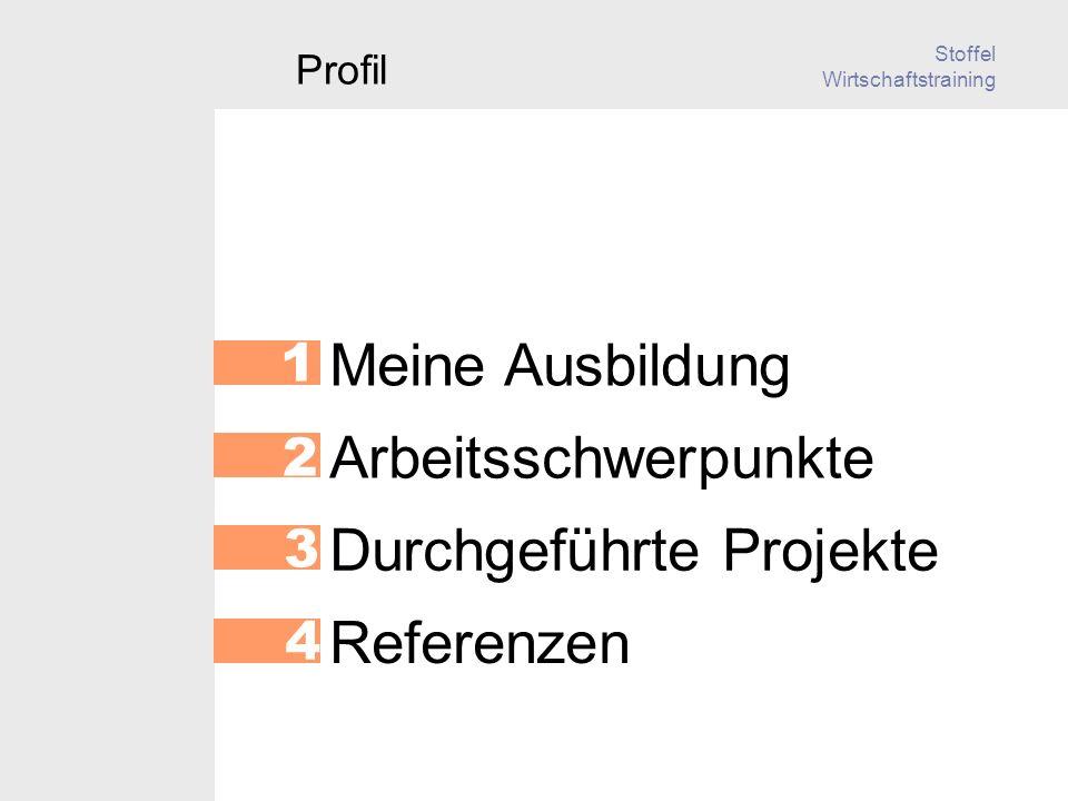Stoffel Wirtschaftstraining Referenzen 4 Meine Ausbildung 1 Arbeitsschwerpunkte 2 Durchgeführte Projekte 3 Profil