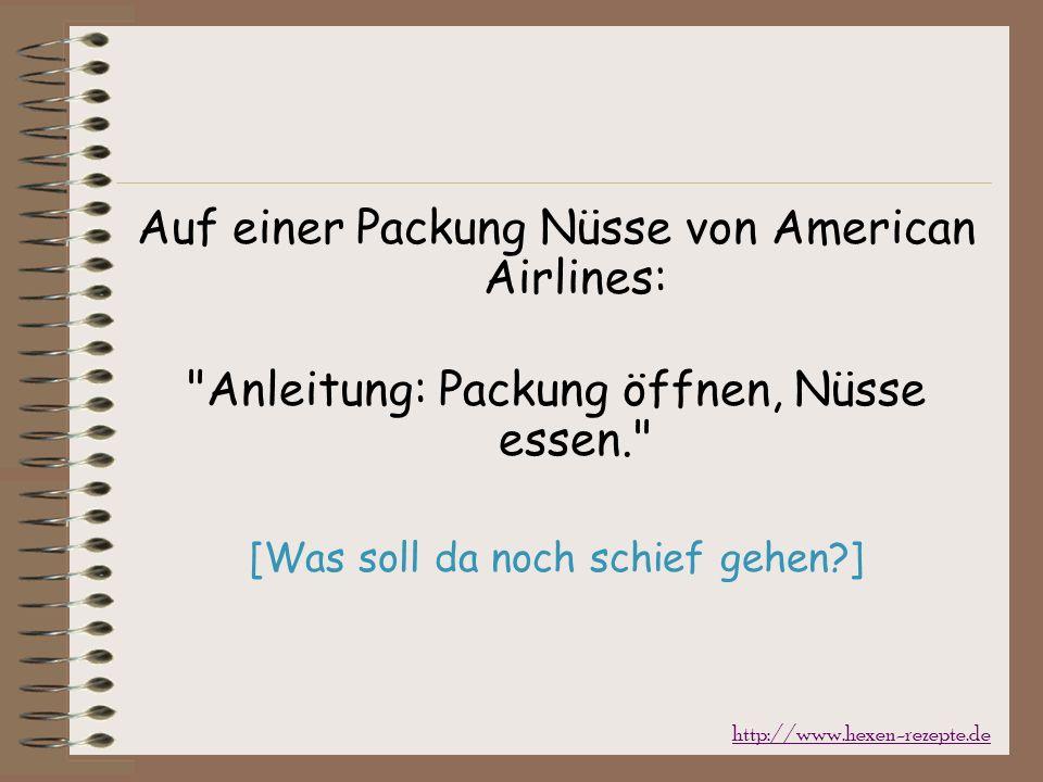 Auf einer Packung Nüsse von American Airlines: