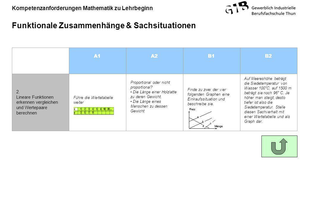 Kompetenzanforderungen Mathematik zu Lehrbeginn Funktionale Zusammenhänge & Sachsituationen A1A2B1B2 2. Lineare Funktionen erkennen vergleichen und We