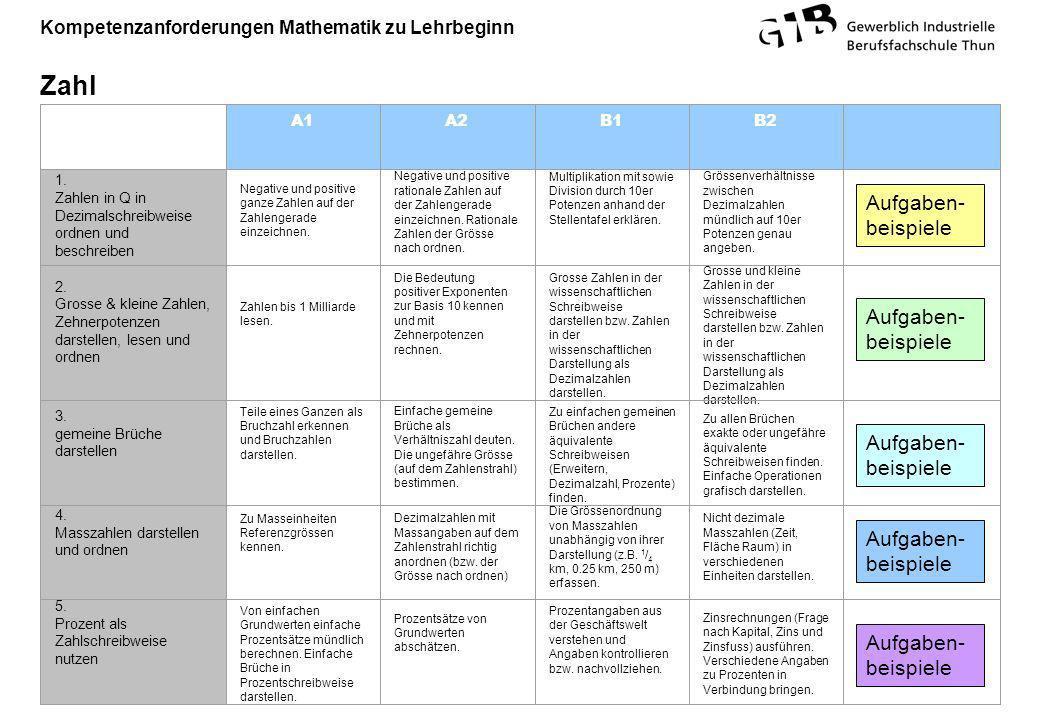 Kompetenzanforderungen Mathematik zu Lehrbeginn Zahl A1A2B1B2 1. Zahlen in Q in Dezimalschreibweise ordnen und beschreiben Negative und positive ganze