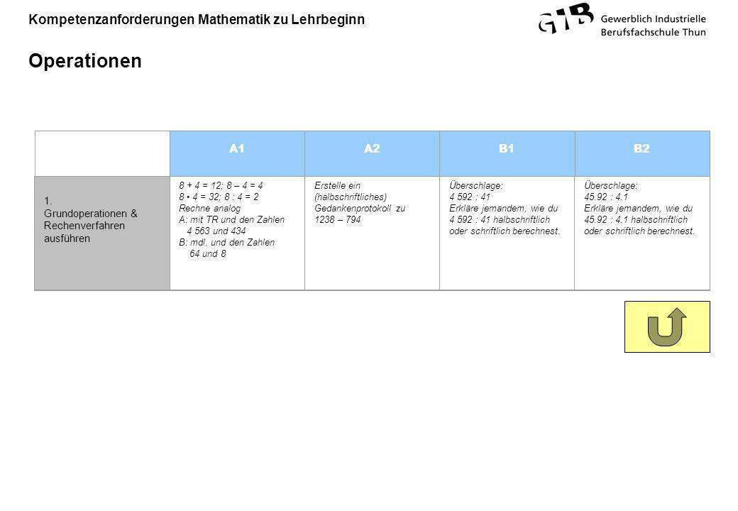Kompetenzanforderungen Mathematik zu Lehrbeginn Operationen A1A2B1B2 1. Grundoperationen & Rechenverfahren ausführen 8 + 4 = 12; 8 – 4 = 4 8 4 = 32; 8