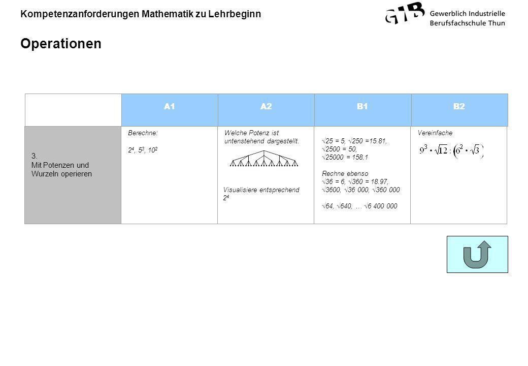 Kompetenzanforderungen Mathematik zu Lehrbeginn Operationen A1A2B1B2 Visualisiere entsprechend 2 4 3. Mit Potenzen und Wurzeln operieren Berechne: 2 4