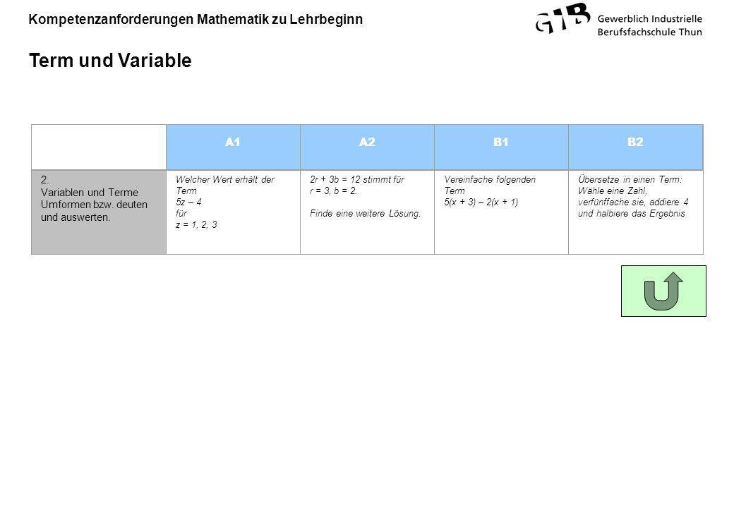 Kompetenzanforderungen Mathematik zu Lehrbeginn Term und Variable A1A2B1B2 2. Variablen und Terme Umformen bzw. deuten und auswerten. Welcher Wert erh