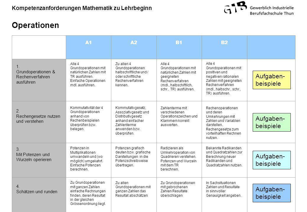 Kompetenzanforderungen Mathematik zu Lehrbeginn Operationen A1A2B1B2 1. Grundoperationen & Rechenverfahren ausführen Alle 4 Grundoperationen mit natür