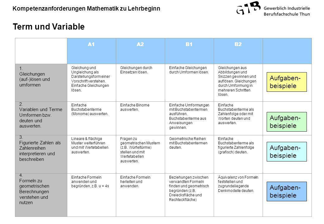 Kompetenzanforderungen Mathematik zu Lehrbeginn Term und Variable A1A2B1B2 1. Gleichungen (auf-)lösen und umformen Gleichung und Ungleichung als Darst