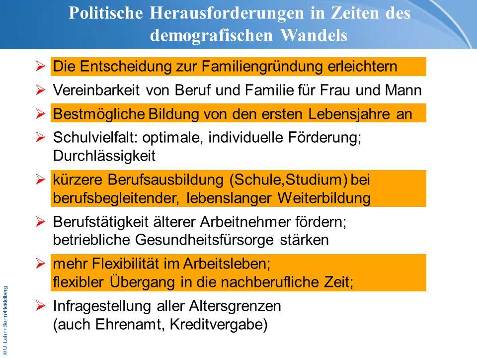 © U. Lehr Bonn/Heidelberg Politische Herausforderungen in Zeiten des demografischen Wandels Die Entscheidung zur Familiengründung erleichtern Vereinba