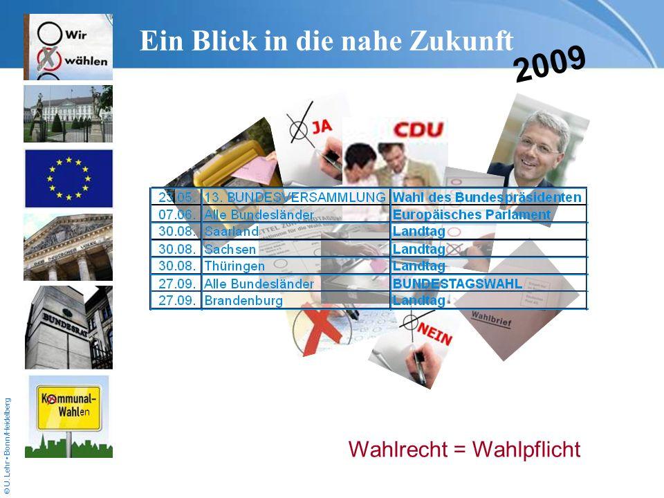 © U. Lehr Bonn/Heidelberg Ein Blick in die nahe Zukunft 2009 Wahlrecht = Wahlpflicht