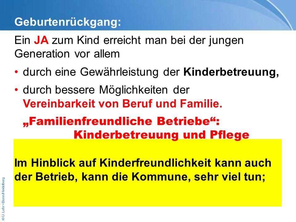© U. Lehr Bonn/Heidelberg Geburtenrückgang: Ein JA zum Kind erreicht man bei der jungen Generation vor allem durch eine Gewährleistung der Kinderbetre