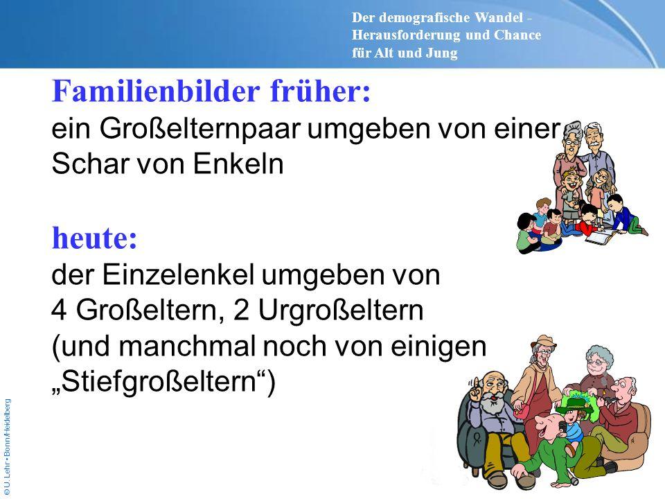 © U. Lehr Bonn/Heidelberg Familienbilder früher: ein Großelternpaar umgeben von einer Schar von Enkeln heute: der Einzelenkel umgeben von 4 Großeltern
